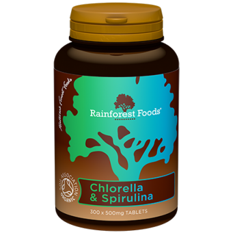 Chlorella & Spirulina -BIO-Rainforest foods-300 tab-500  g