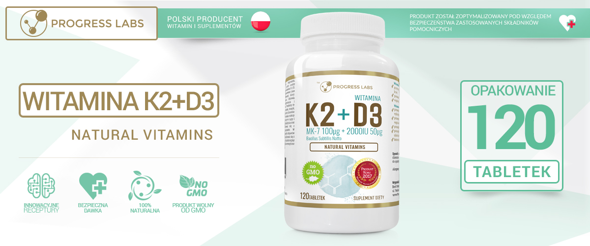 Witamina K2 MK-7 Z Natto 100mcg + D3 2000-progress labs